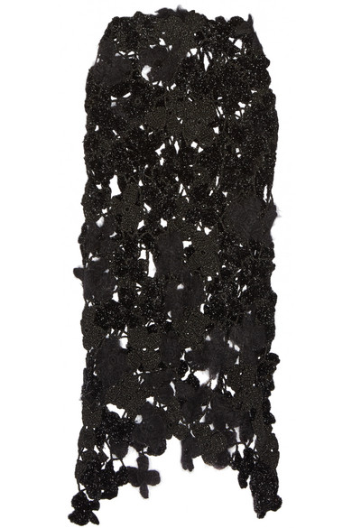 Simone Rocha - Metallic Crocheted Midi Skirt - Black