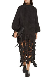 Simone Rocha Metallic crocheted midi skirt