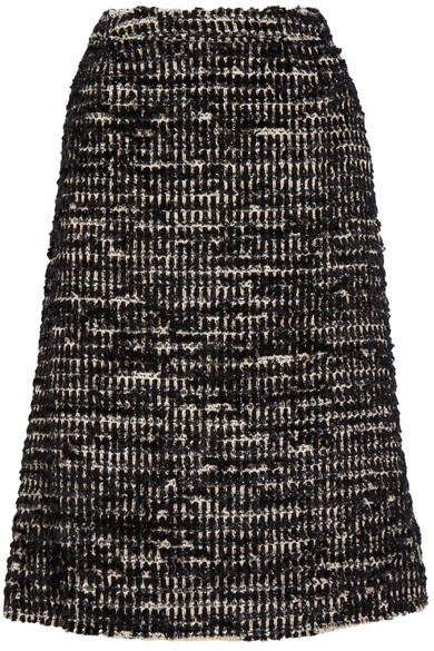 Simone Rocha - Metallic Tweed Midi Skirt - Black