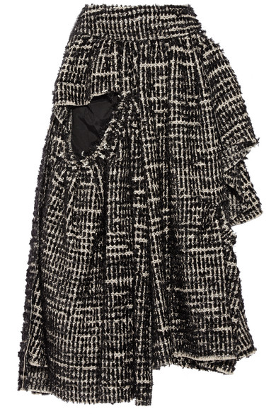 Simone Rocha - Asymmetric Metallic Tweed Midi Skirt - Black