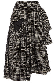 Simone Rocha Asymmetric metallic tweed midi skirt