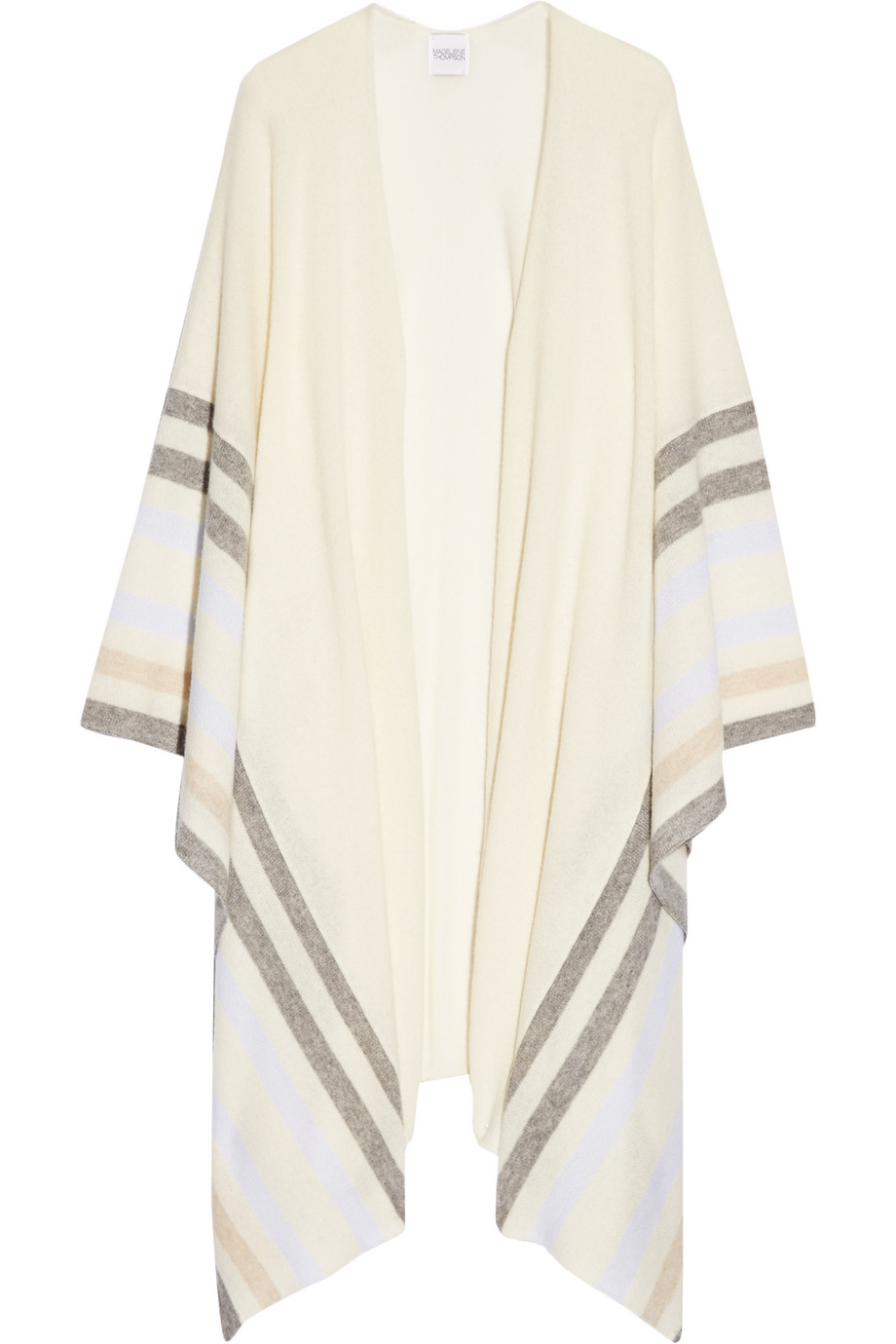 Nidd Striped Cashmere Wrap, Madeleine Thompson, Cream, Women's