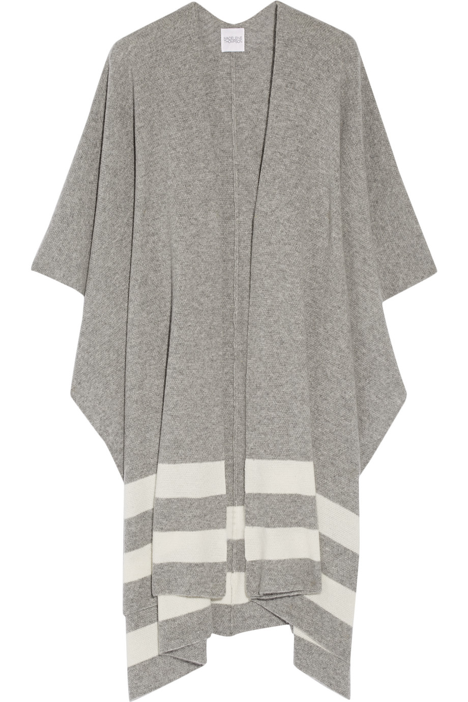 Towton Striped Cashmere Wrap, Madeleine Thompson, Gray, Women's