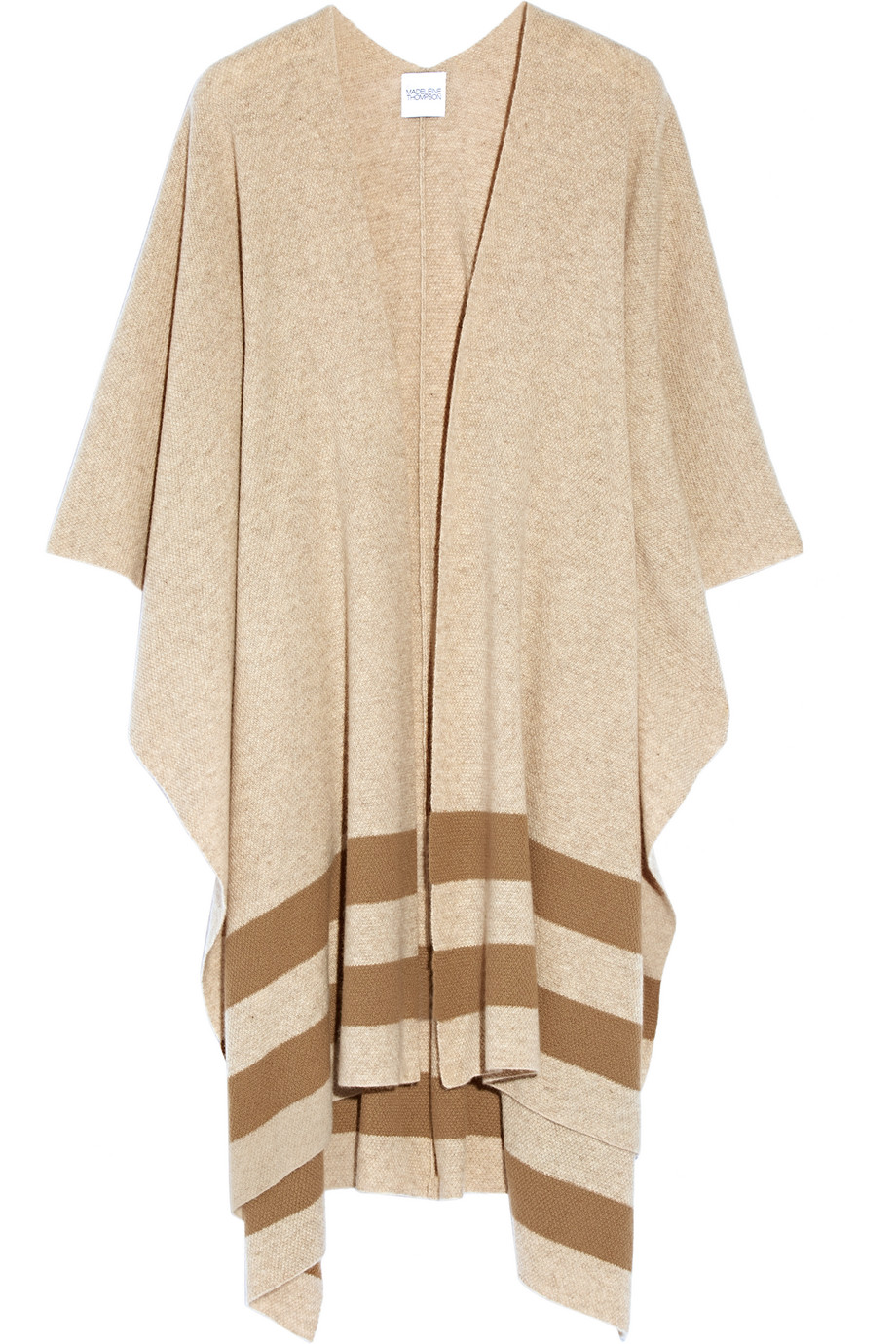 Towton Striped Cashmere Wrap, Madeleine Thompson, Camel, Women's