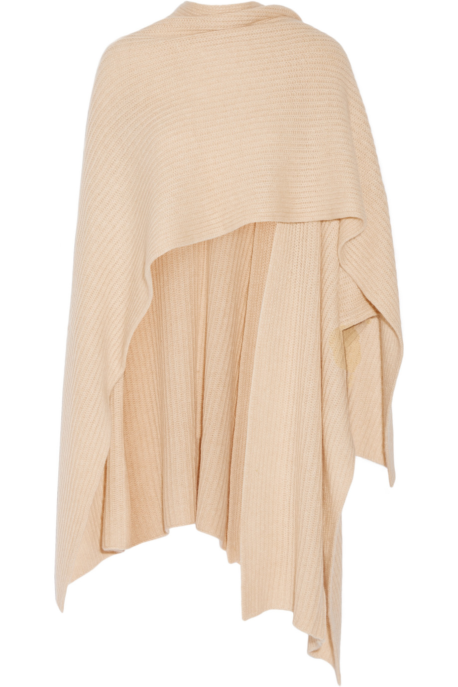 Ribbed Cashmere Wrap, Madeleine Thompson, Beige, Women's
