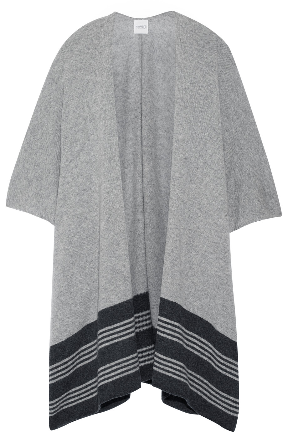 Marrick Striped Cashmere Wrap, Madeleine Thompson, Gray, Women's
