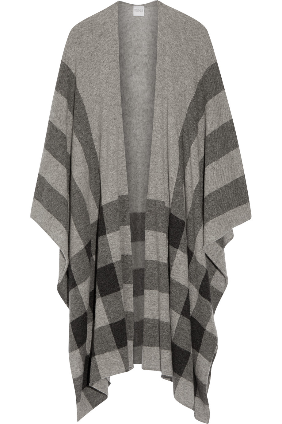 Shipton Checked Cashmere Wrap, Madeleine Thompson, Light Gray, Women's