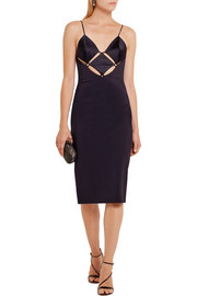Maxine cutout satin and stretch-jersey dress