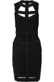 Hervé Léger Cutout ruffled bandage dress