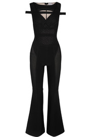 Cutout bandage and mesh jumpsuit