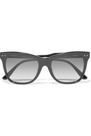 Cat-eye leather-trimmed acetate sunglasses