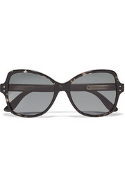 Butterfly-frame leather-trimmed acetate sunglasses