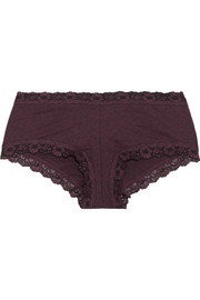 Hanky Panky Heather lace-trimmed stretch-jersey boy shorts