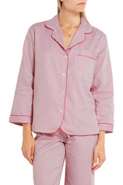 Bodas Verbier striped Swiss cotton pajama shirt
