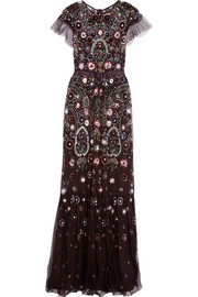 Needle & Thread Enchanted embellished tulle maxi dress