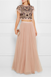 Enchanted embellished tulle top
