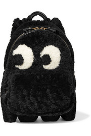 Anya Hindmarch Ghost leather-trimmed shearling backpack