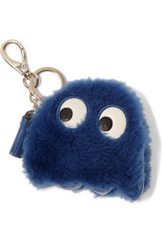 Anya Hindmarch Ghost leather-trimmed shearling keychain