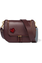 Anya Hindmarch Heart crystal-embellished suede sticker