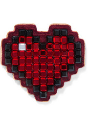 Heart crystal-embellished suede sticker