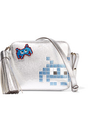 Space Invader crystal-embellished suede sticker