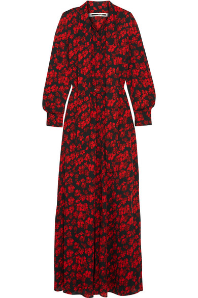 McQ Alexander McQueen - Pussy-bow Printed Silk Crepe De Chine Maxi Dress - Red