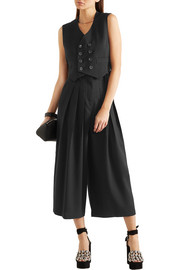 McQ Alexander McQueen Kilt pleated cropped stretch-wool wide-leg pants
