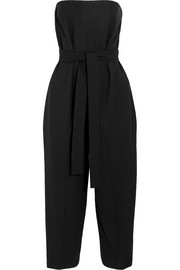 Strapless cropped stretch-wool jumpsuit