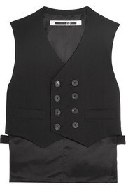 Double-breasted stretch-wool crepe and satin vest