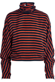 McQ Alexander McQueen Striped crepe de chine turtleneck top