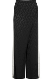 Alcyone wrap-effect silk-jacquard wide-leg pants