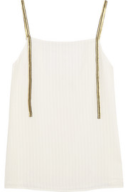 Cutout metallic-trimmed silk camisole