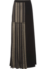 Pleated metallic-trimmed silk maxi skirt