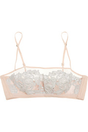 Moonlight floral-appliquéd tulle and georgette soft-cup bra