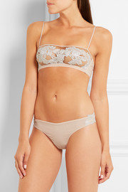 La Perla Moonlight floral-appliquéd stretch silk-blend georgette thong