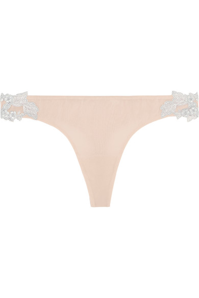 la perla female la perla moonlight floralappliqued stretch silkblend georgette thong neutral