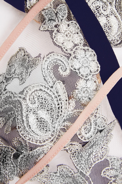 La Perla Moonlight georgette-trimmed embroidered tulle soft-cup bra