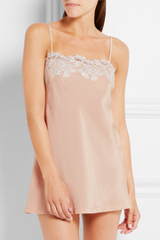 La Perla Moonlight floral-appliquéd silk-blend chemise