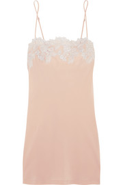 Moonlight floral-appliquéd silk-blend chemise