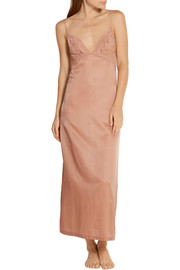 La Perla Jazz Time Leavers lace-paneled cotton and silk-blend nightdress