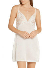 La Perla Jazz Time Leavers lace-trimmed cotton and silk-blend chemise