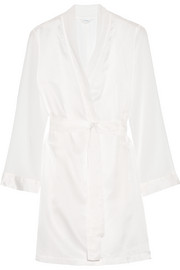 Jazz Time silk chiffon-trimmed cotton-muslin robe