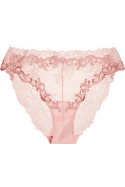 La Perla Secret Story embroidered Leavers lace and tulle briefs