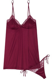Charisma lace-trimmed modal-blend jersey chemise and thong set
