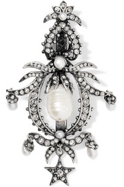 Silver-plated, Swarovski crystal and pearl hair slide