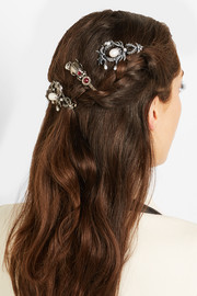 Alexander McQueen Silver-plated, Swarovski crystal and pearl hair slide