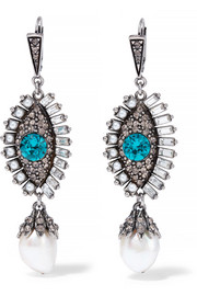 Silver-plated multi-stone earrings