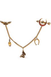 Alexander McQueen Gold-tone, crystal and faux pearl brooch