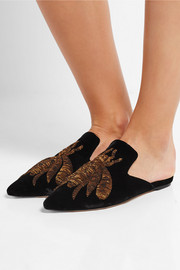 Sanayi313 Ragno embroidered velvet slippers