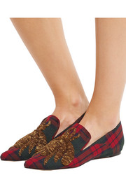 Sanayi313 Ragno embroidered tartan felt loafers